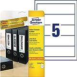 AVERY Zweckform C32267-25 Ordner-Einsteckschilder (54 x 190 mm auf DIN A4, für breite/ kurze Ordner, 125 Stück auf 25 Blatt) weiß
