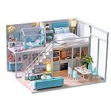 DIY Puppenhaus Kit, Holz Puppenhaus mit LED-Leuchten Möbel Puppenhaus Handmade Craft Loft Apartment Miniatur Kreativraum Mini Puppenhaus Geschenke(#1)
