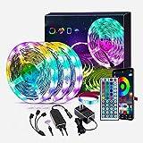 LED Streifen LED Strips Bluetooth LED Lichtband App-gesteuerte, LED Lichtleiste mit Fernbedienung, Musik Sync Farbwechsel, für Schlafzimmer,Schrank, Garten,PartyDekoration[Energieklasse A+]
