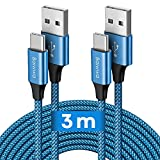 Baiwwa USB-C-Kabel, 3 m, 2 Stück, langes USB-Kabel Typ C, Schnellladegerät, Nylon, geflochten, USB C für Samsung Galaxy S20 S10 S9 S8 Plus, A51 A41 A50 A71 A40 A21s A12