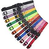 HOLLIHI 12 Stück / Set weiche Nylon-Welpenhalsbänder – verstellbare Hundehalsbänder mit Abreißverschluss, für Hunde und Hunde mit Aufzeichnungstabelle, Halsumfang 17,8 cm – 26