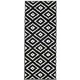 Carpeto Rugs Teppich Läufer Flur - Orientalisch Geometrisch Teppichläufer - Kurzflor, Weich - Flurläufer für Wohnzimmer, Schlafzimmer - Teppiche - Meterware - Schwarz - 70 x 250 cm