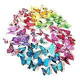 Trintion 108 Stück 3D Schmetterlinge Wandtattoo Wanddeka Wand Deko Wandtatoo Wandaufkleber schlagfestem Kunststoff Schmetterling Dekorationen, für Wohnung, Raumdek