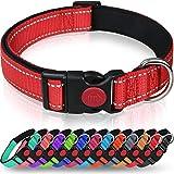 Taglory Hundehalsband, Weich Gepolstertes Neopren Nylon Hunde Halsband für Mittlere Hunde, Verstellbare und Reflektierend für das Training, Rot