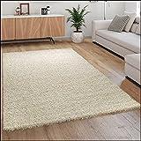 Paco Home Hochflor Teppich Wohnzimmer Shaggy Langflor Modern Einfarbig Ohne Muster, Grösse:140x200 cm, Farbe:Creme