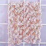 Homcomodar 2er Pack künstliche Blumne Kirschblüten Girlande Rosa, Seidenblume Vine für Hochzeit Party Tisch Hintergrund Bogen Wand Dek