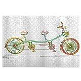 Puzzles für Erwachsene, 1000 bunte Tandem-Fahrrad-Design auf weißem Hintergrund, Muster Clipart-Stil, Holzpuzzle-Spiele mit Familienspaß