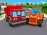 Rot Lastwagen und Orange Traktor