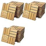 Casaria Holzfliesen FSC®-zertifiziertes Akazienholz 3m² Fliese Akazie Mosaik 30x30cm Klicksystem zuschneidbar T