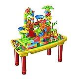 N&O Renovierungshaus BAU Aktivitätstisch Kinder Holztisch Zusammengebautes Lernspielzeug Tisch Jungen und Mädchen 1 6 Jahre alt Baby Multifunktionsspiel Sandtisch Gelber Multifunktionstisch