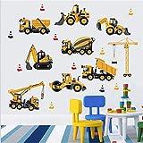 OUJINKUAJING Cartoon GebäUde BAU Fahrzeug Wandaufkleber Bauen Sie Ihre Zukunft Kran Bagger Kinder Jungen Schlafzimmer Dekor Abziehbilder