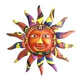 kristy Sonne wanddekoration Metall, Gartenkunst, Wanddeko, Handbemalt, Sonne Deko Hängen für Innen Außen Haus Garten, 32.5