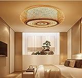sgvag Neue Deckenlampe im chinesischen Stil Moderne minimalistische Deckenleuchte kreative Zen runde Kronleuchter Wohnzimmer Schlafzimmer Esszimmer Kinderzimmer LED Bambus gewebte dekorative Lampe