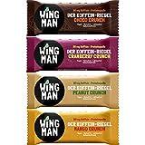 WINGMAN Koffein - Riegel (Probierpack (1 Riegel von allen 4 Sorten), 4 Riegel)   Vegan & Proteinquelle   Energieriegel mit Koffein