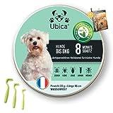 Ubica® Floh- und Zeckenhalsband für kleine Hunde ( 8kg) - Formel basierend auf ätherischen Bio-Ölen - Gefahrlos und 100% WASSERDICHT - 3 Zeckenklammern und EBOOK-Angebote