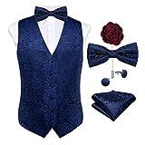 DiBanGu Herren Paisleymuster Weste und Krawatte Einstecktasche Manschettenknöpfe Weste Anzug Set für Smoking - Blau - Medium