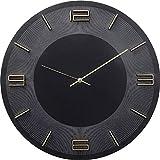 Kare Design Wanduhr Leonardo Schwarz/Gold, Dekouhr Rund, Küchenuhr in Schwarz mit Goldenen Akzenten, moderne Uhr für Wohnküche, Wohnzimmer, (H/B/T) 48,5x48,5x4,5