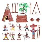 TOYANDONA Indianische Figuren aus Kunststoff Playset Spielzeug Figuren Native Amerika mit Totem Zelt Kit Miniatur Cowboy Wild West für Kinder als Geschenk