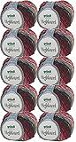 500g Wollpaket Gründl Highland, Wolle Paket 10 x 50g Farbe 01, Schnellstrickwolle mit Farbverlauf, zum Stricken oder Häkeln