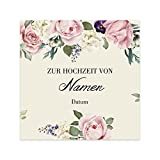 Herz & Heim® Romantisches Flaschenetikett zur Hochzeit mit den Namen der Liebenden und dem Hochzeitsdatum 1 Stück