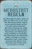 Schatzmix Spruch: Werkstatt-Regel lustig Metallschild Wanddeko 20x30 cm tin Sign Blechschild, Blech, Mehrfarbig