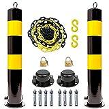 2 Stück parkplatz Schild Poller 5m Barrier Chain Link privatparkplatz Schild kunststoffkette schwarz gelb(Size:100×11.4cm(39.4×6.3in))