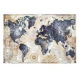 NLLeZ 1 stück Aquarell Vintage Weltkarte Leinwand Malerei Poster und Drucke Scandinavian Cuadros Wandkunst Bild Für Wohnzimmer Wohnkultur (Farbe : FB464, Size (Inch) : 70X100cm Unframed)