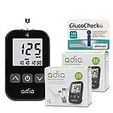adia Blutzuckermessgerät (mg) + 110 Blutzuckerteststreifen + 110 Lanzetten Maxi-Sparset zur Blutzucker-Selbstkontrolle bei Diab