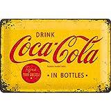 Nostalgic-Art Retro Blechschild, Coca-Cola – Logo Yellow – Geschenk-Idee für Coke-Fans, aus Metall, Vintage-Design zur Dekoration, 20 x 30 cm