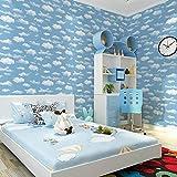 TFJJSQA Sonder/Schlicht Wallpaper Cartoon Tapete Schlafzimmer Wohnzimmer Tapete 53 * 1000 cm dunkelblau (Color : Navy Blue, Size : 53 * 1000cm)