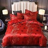 Exlcellexngce Bettbezug 220x240,Einfache Silk Satin-Jacquard-Baumwolle-BettwäSche-Wohnung Mit EuropäIschen BettwäSche-Bett-BettwäSche-Deckung Doppelte Hochzeits-BettwäSche-Farbe_2,0m (6,6 Fuß) Bett