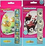 Dekoback Set | aus Zucker | Monster | Geister | Cupcake, Tortendeko| Halloween | Kindergeburtstag | essbar