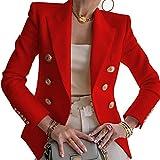 Damen-Blazer-Jacke, langärmlig, mit Knopfleiste, lässig, elegant, für Arbeit, Büro, Büro, Rot X-Larg