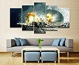 GMSM Große Leinwand Wandkunst Bilder Militär WW1 WW2 Navy World of Warships Drucke Malerei auf Leinwand Moderne Wohnzimmer Wohnkultur 5 Stück-30x40 30x60 30x80cm Rahmen