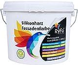 RyFo Colors Silikonharz Fassadenfarbe 6l (Größe wählbar) - hochwertige Silikon Außen-Farbe-Dispersion, weiß, abtönbar, wasserabweisend, Abperleffekt, Wetterschutz, hohe Deckkraft, lösemittelfrei