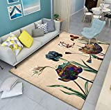 Exquisiter Teppich Mit Blumendruck, Bodenmatte Für Die Nordische Wohnzimmerküche, Rutschfester Weicher Polyesterteppich Für Den Korridor 120x160cm