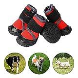 PETLOFT Hundeschuhe, 4pcs Anti Rutsch Pfotenschutz Hund Schuhe mit Einstellbar Verschlussriemen Dog Boots für Kleine Mittlere Große Hunde, Pfotenschutz für Hunde, Einfach Anzuziehen (L, Rot)