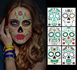 Temporäre Halloween-Gesichtstattoos, 6 Blatt Glow in the Dark Tattoos Zuckerschädel Aufkleber Tag der Toten Make-up, für Maskerade und Partys