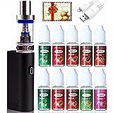 E Zigarette Starter Set, LHHWEI Box Mod Kit und 10x10ml E liquid,2200mah Akku und 2,5ml Top Refill Verdampfer und 0.5 Ohm Verdampferköpfe Kein Nikotin Schwarz