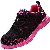 LARNMERN Sicherheitsschuhe Damen Herren, Leicht SRC rutschfeste Anti-Piercing Schuhe Schutz Arbeitsschuhe mit Stahlkappe Sicherheitssneaker (Pink 41 EU)