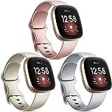 Vancle 3 Pack Armband Kompatibel mit Fitbit Versa 3 Armband/Fitbit Sense Armband, Weich TPU Sport Ersatz Armbänder Damen Herren für Fitbit Versa 3/Sense (S, Silber/Roségold/Gold)