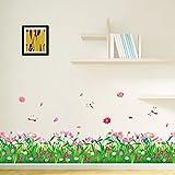 WandSticker4U®- Wandtattoo Blumenwiese mit Libellen I Breite: 2.3M I Wandsticker Wiese Frühling Fensterbilder Blumen Gras Bordüre I Wand Deko für Wohnzimmer Kinderzimmer Flur F