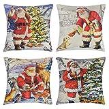 UMIPUBO 4 Stück Weihnachtskissenbezug, Kissenbezug, Weihnachtsmann, Elch, Dekorationen, Kissen, Kissen, Vintage-Design, für Schlafzimmer, Sofa, Wohnzimmer, Dekoration, 45 x 45 cm (I)