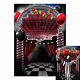Funnytree 1,5 x 2,2 m Halloween Eve, Zirkus, Horror, gruselige Faschingsparty, gruselige Eingangstüre, Vampir-Luftballons, Fotografie-Hintergrund, Dress-Up-Dekoration, Fotoautomaten-Requisiten