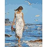 Malen nach Zahlen Frauenset Acrylfarbe für Erwachsene Meer Figur Leinwand DIY Zeichnung Färben nach Zahlen Dekoration A12 40x50