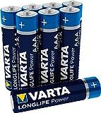 VARTA Longlife Power AAA Micro LR03 Batterie (8er Pack) Alkaline Batterie - Made in Germany - ideal für Spielzeug Taschenlampe Controller und andere batteriebetriebene G