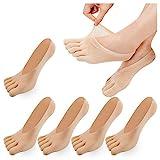 REKYO 5 Paare Frauen Zehen Socken fünf Finger Socken weich und atmungsaktiv Low-Cut Ankle Socks Seidenstrümpfe für Mädchen (Haut-5)