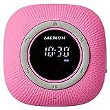 MEDION P66096 Duschradio mit Bluetooth (Badradio, UKW Radio, Saugnapf, LED-Display, IPX6 Wasserdicht, integrierter Akku) pink
