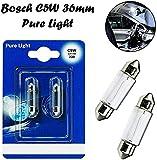 2x Bosch C5W 36mm 12V 1987301004 Pure Light Innenbeleuchtung - Kofferraum Handschuhfach Kennzeichen Tür Fußraum Leselampen Lizenz - Ersatz Halogen Soffite Lampe E-geprüft