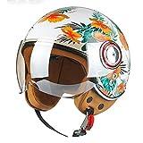 BDTOT Jahrgang Jet Helme Motorrad Helm Roller Helm Open Face Helm Erwachsener mit Visier 3/4 Half Face ECE-anerkannter Moped Adventure Bike Riding Cruiser für Männer Frauen (54~60)